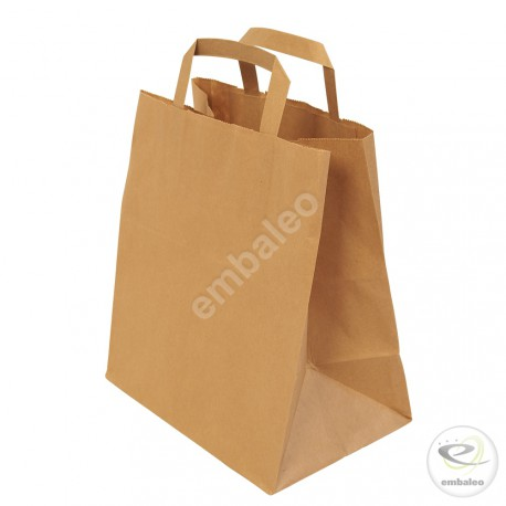 Sacchetto in carta Kraft con manici piatti 20 x 10 x 28 cm