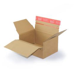 Scatola di cartone ad altezza variabile e fondo automatico (22,9 x 16,4 cm) con striscia autoadesiva